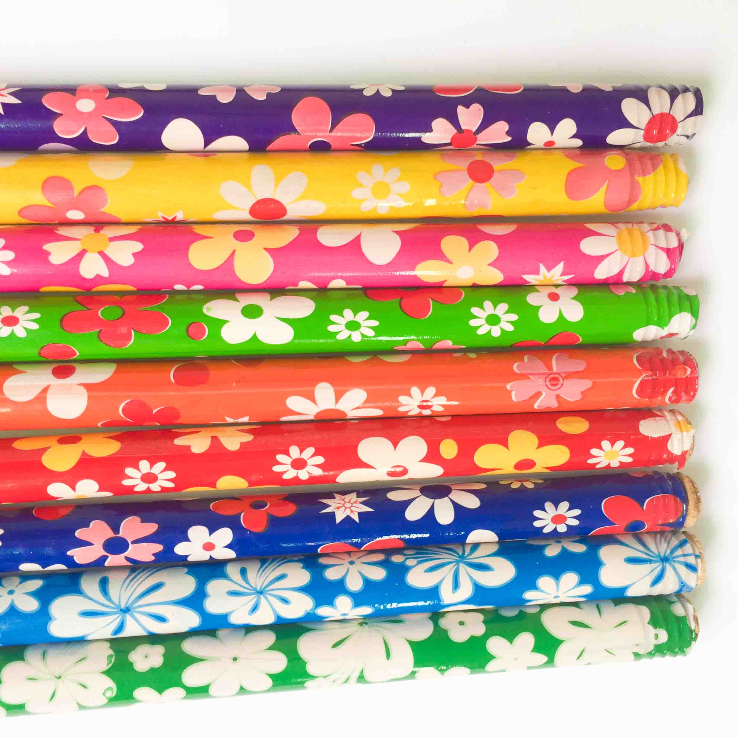 Flower PVC Coated Wooden Broom Stick Handle